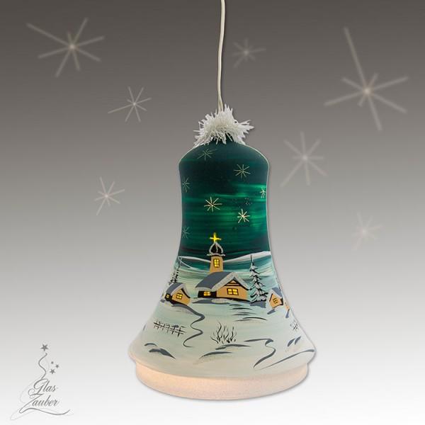 XXL Beleuchtete Glocke aus Glas - Höhe 24 cm - Tannengrün