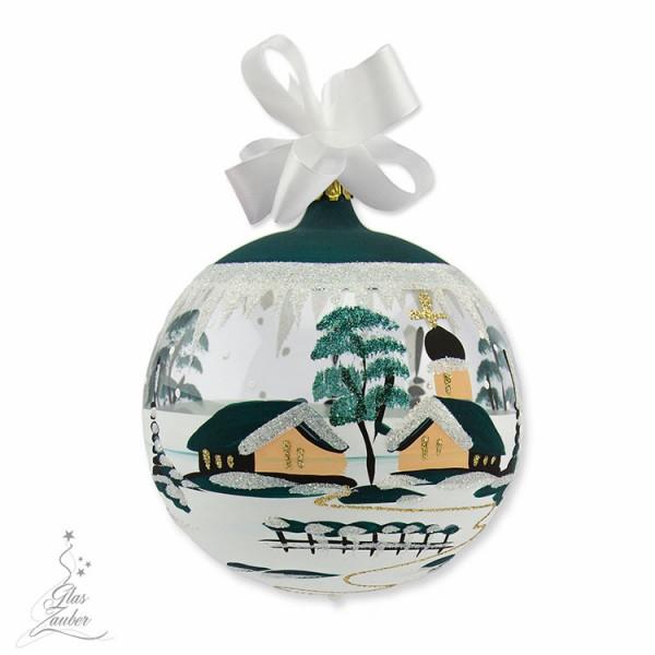 Christbaumkugel aus Glas - ø 10 cm - Tannengrün