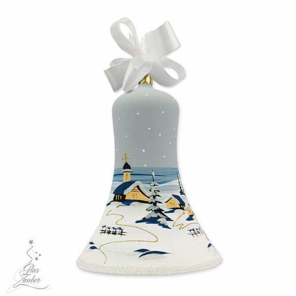 Große Christbaum Glocke aus Glas - Höhe 18 cm - Frostgrau