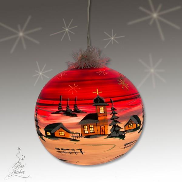 """Beleuchtete Glaskugel """"Dorf im Wald"""" - ø 15 cm - Weihnachtsrot"""