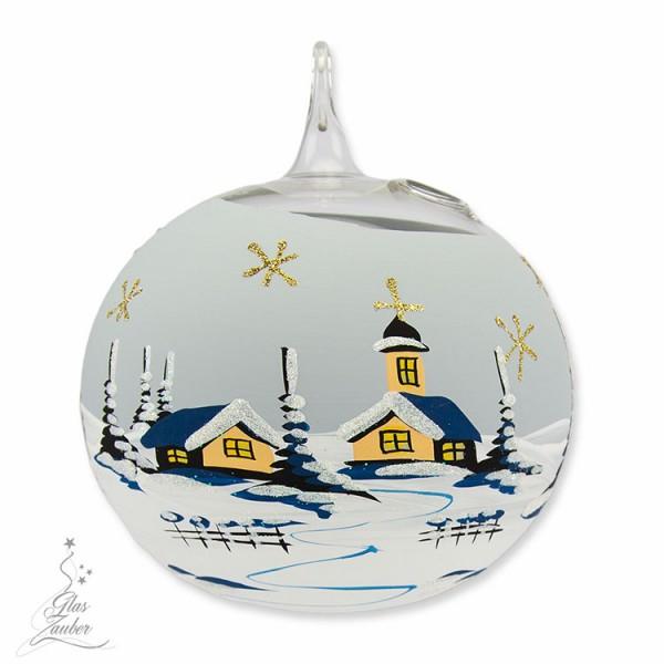 Windlicht aus Glas mit Ständer - ø 12 cm - Frostgrau