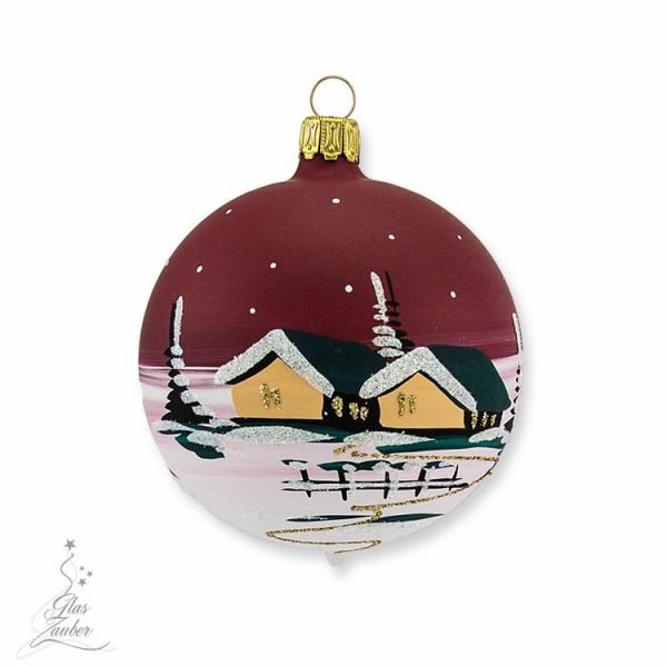 Kleine Christbaumkugel aus Glas - ø 7 cm - Weihnachtsrot