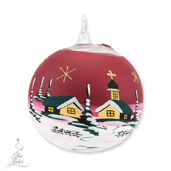 Windlicht aus Glas mit Ständer - ø 12 cm - Weihnachtsrot