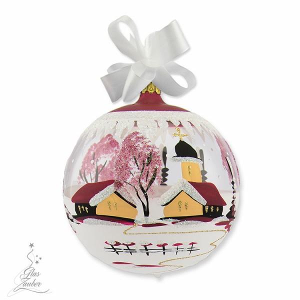 Christbaumkugel aus Glas - ø 10 cm - Weihnachtsrot