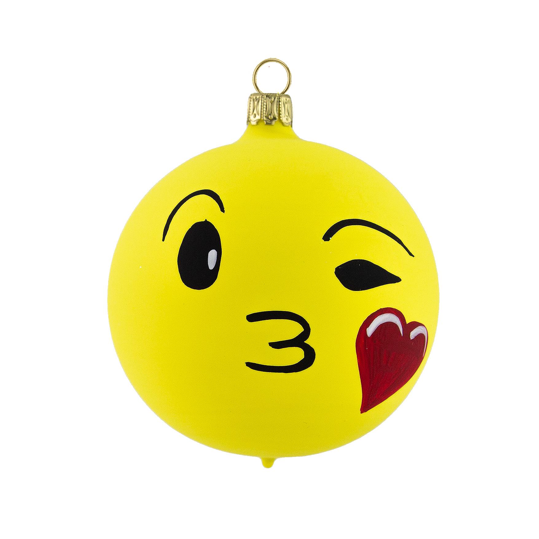 Smiley Face Kussmund Glas Kugel aus Lauscha   glaszauber