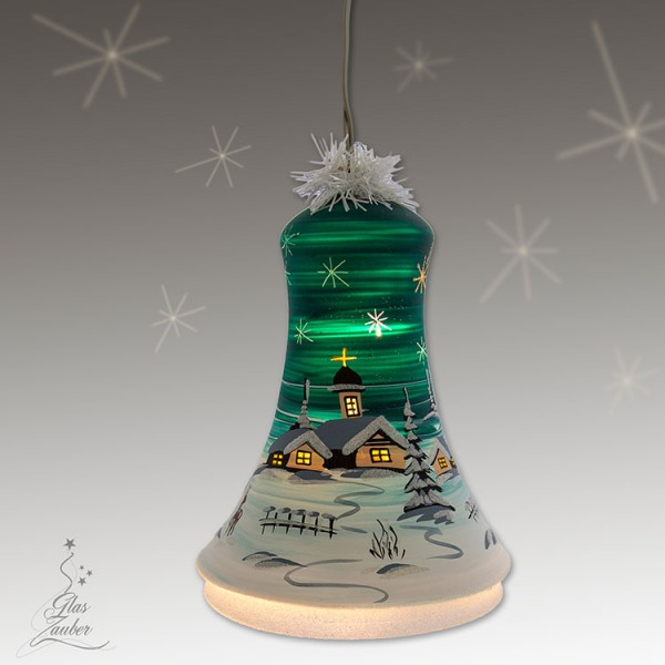 Große beleuchtete Glocke aus Glas - Höhe 18 cm - Tannengrün