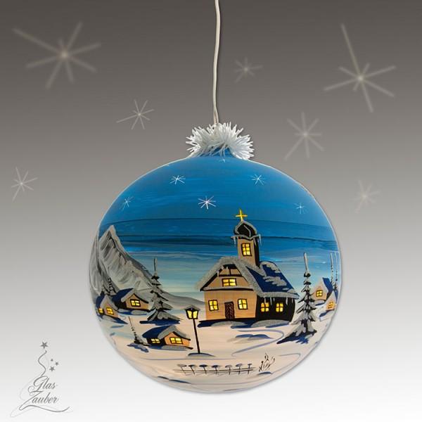 XXL Beleuchtete Glaskugel aus Glas - ø 25 cm - Winterblau