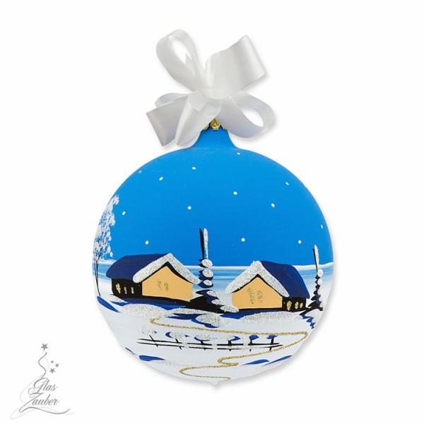 Christbaumkugel aus Glas - ø 10 cm - Winterblau