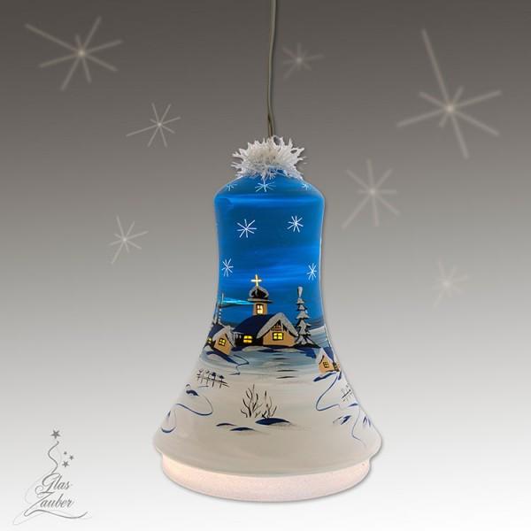 XXL Beleuchtete Glocke aus Glas - Höhe 24 cm - Winterblau