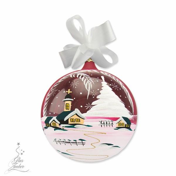 Große Weihnachtskugel aus Glas - ø 18 cm - Weihnachtsrot