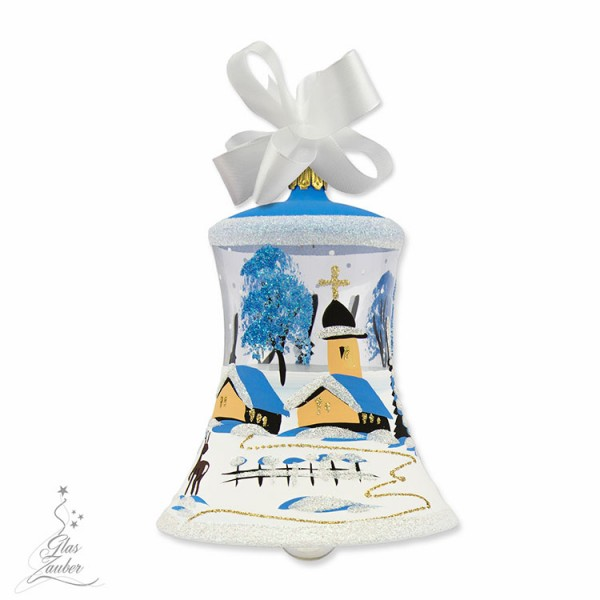 Christbaum Glocke aus Glas - Höhe 10 cm - Winterblau