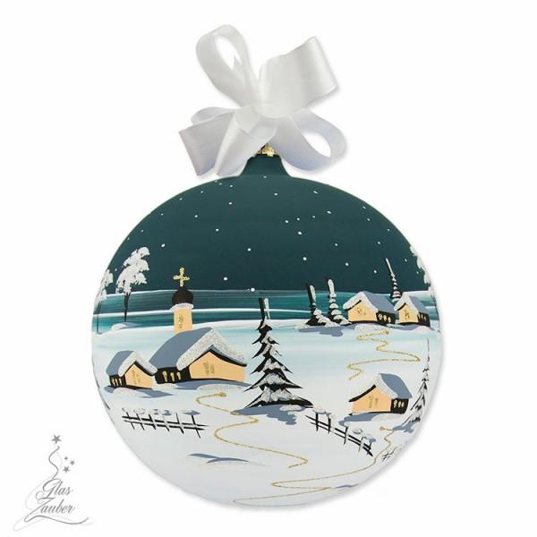 Große Weihnachtskugel aus Glas - ø 18 cm - Tannengrün