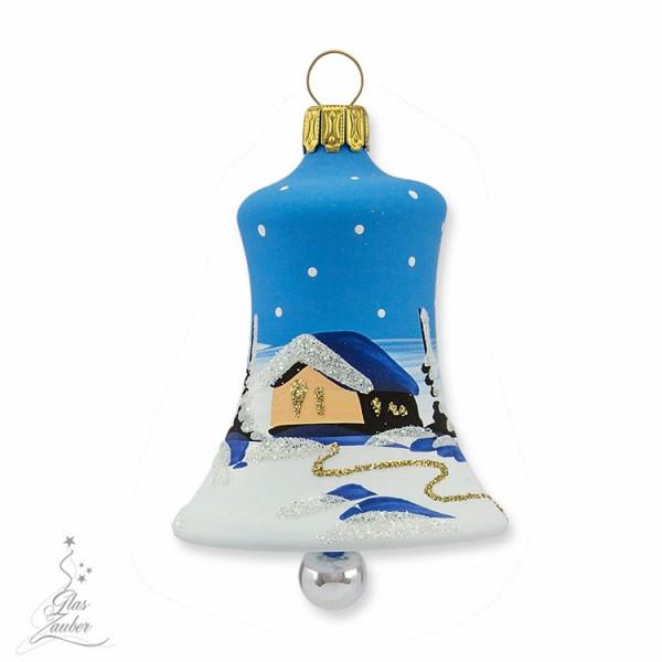 Kleine Christbaumglocke aus Glas - Höhe 5,5 cm - Winterblau