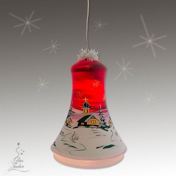 XXL Beleuchtete Glocke aus Glas - Höhe 24 cm - Weihnachtsrot
