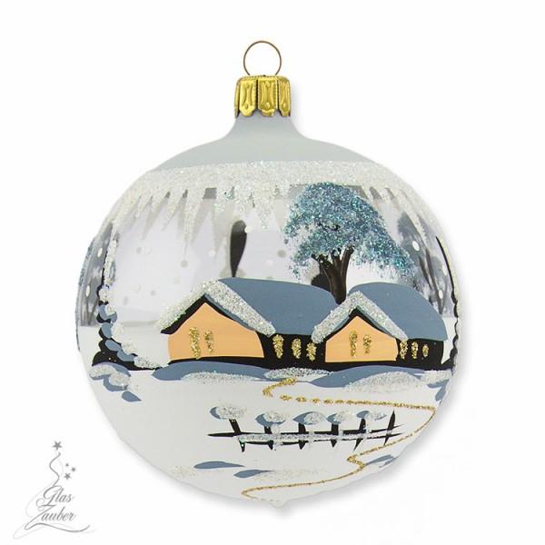 Kleine Christbaumkugel aus Glas - ø 8 cm - Frostgrau