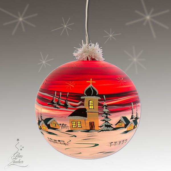 "Große beleuchtete Glaskugel ""Bergdorf"" - ø 18 cm - Weihnachtsrot"