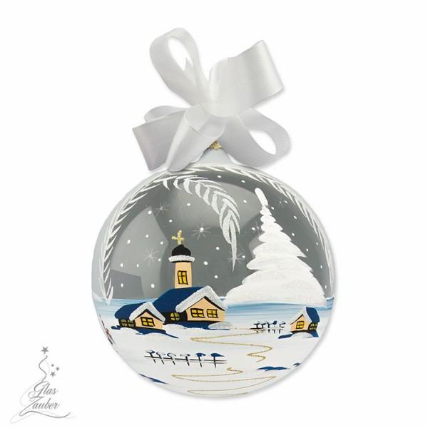 Große Weihnachtskugel aus Glas - ø 18 cm - Frostgrau