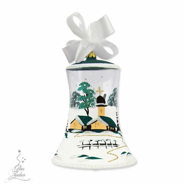 Christbaum Glocke aus Glas - Höhe 10 cm - Tannengrün
