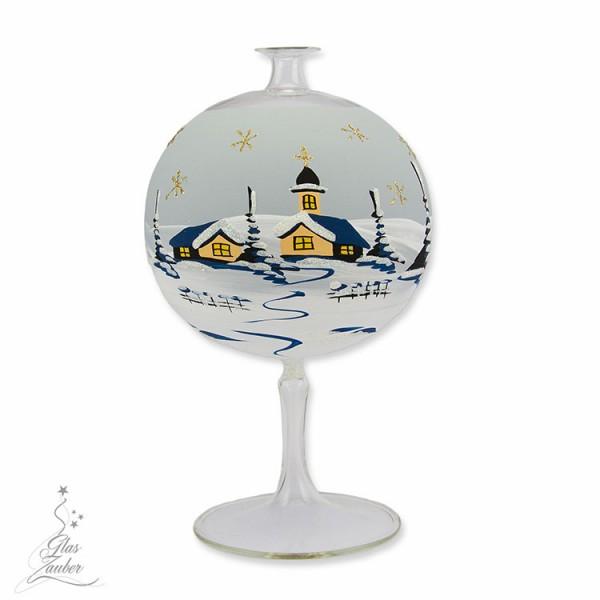 Windlicht aus Glas mit Glasfuß - ø 12 cm - Frostgrau