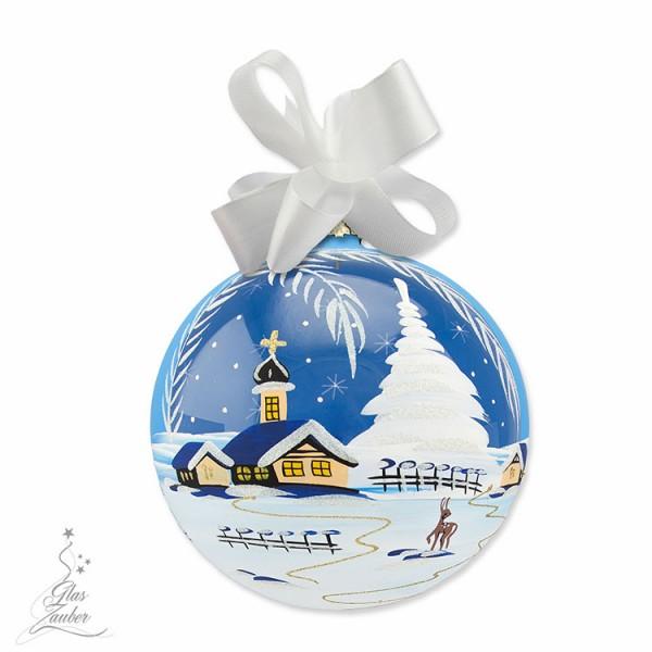 Große Weihnachtskugel aus Glas - ø 18 cm - Winterblau