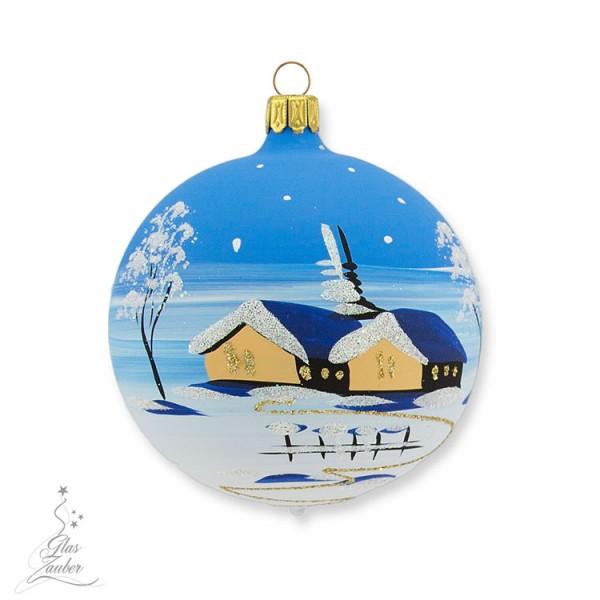 Kleine Christbaumkugel aus Glas - ø 8 cm - Winterblau
