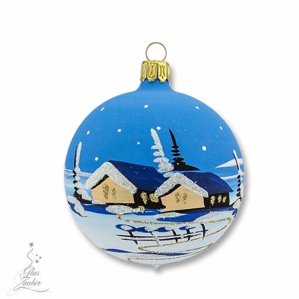 Kleine Christbaumkugel aus Glas - ø 7 cm - Winterblau