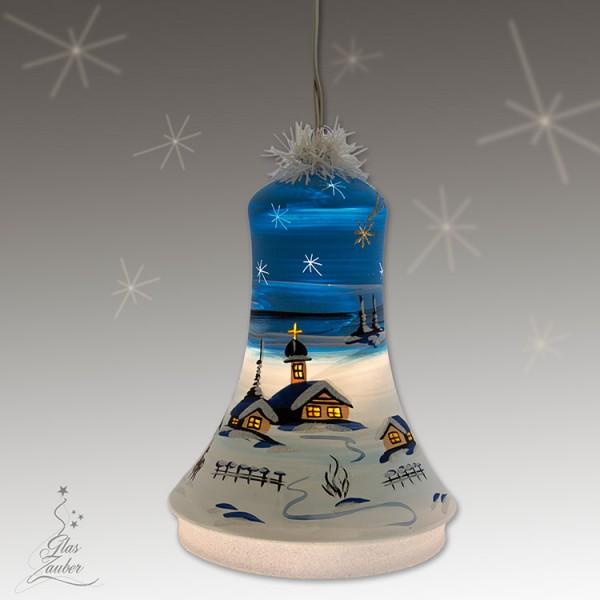 Große beleuchtete Glocke aus Glas - Höhe 18 cm - Winterblau