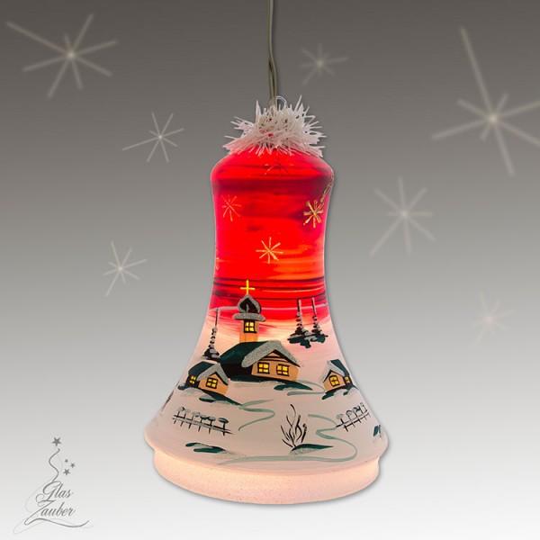 Große beleuchtete Glocke aus Glas - Höhe 18 cm - Weihnachtsrot