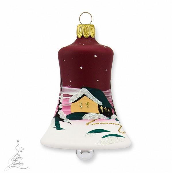 Kleine Christbaumglocke aus Glas - Höhe 5,5 cm - Weihnachtsrot
