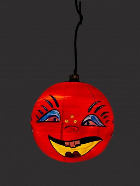 Beleuchteter Kürbis aus Glas - Happy Face