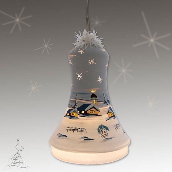 Große beleuchtete Glocke aus Glas - Höhe 18 cm - Frostgrau