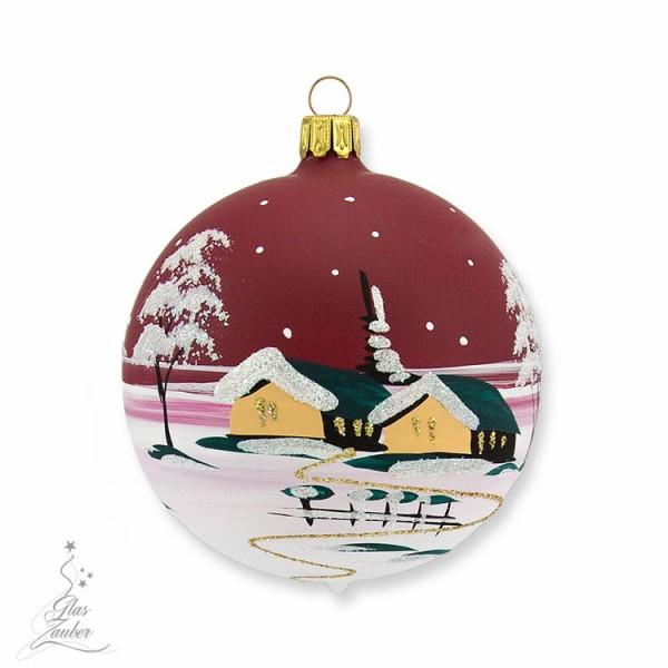 Kleine Christbaumkugel aus Glas - ø 8 cm - Weihnachtsrot