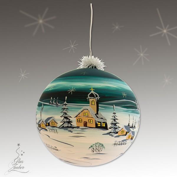 XXL Beleuchtete Glaskugel aus Glas - ø 25 cm - Tannengrün