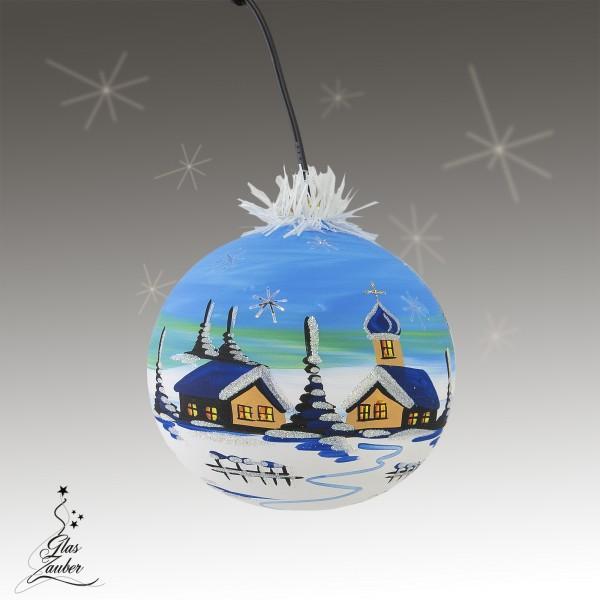 """Beleuchtete Glaskugel """"Winterzauber"""" - ø 11cm - winterblau"""