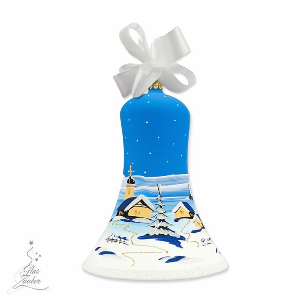 Große Christbaum Glocke aus Glas - Höhe 18 cm - Winterblau