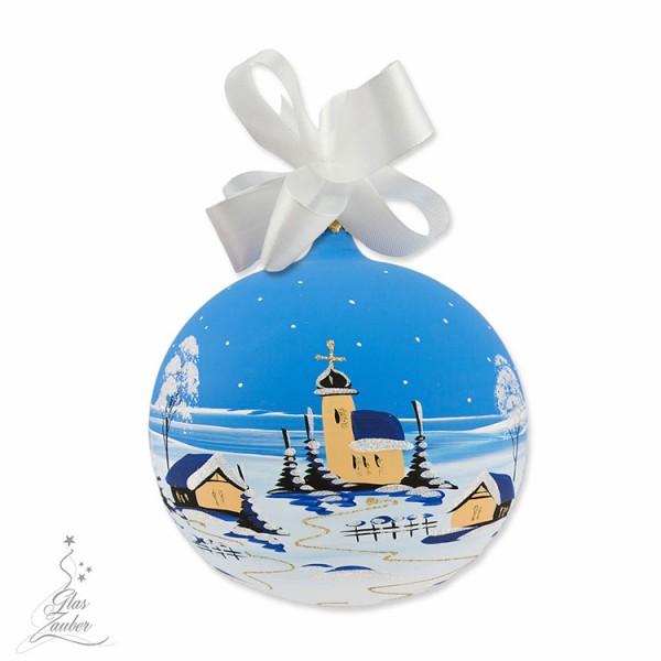 Weihnachtskugel aus Glas - ø 14 cm - Winterblau