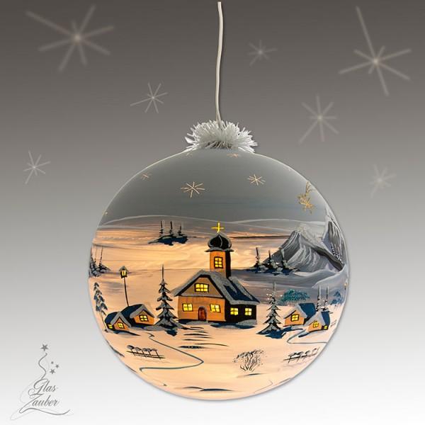 XXL Beleuchtete Glaskugel aus Glas - ø 25 cm - Frostgrau