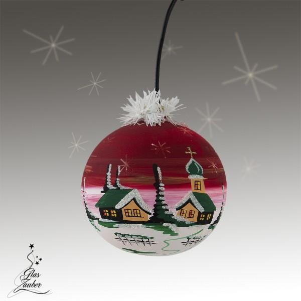 """Beleuchtete Glaskugel """"Winterzauber"""" - ø 11cm - weihnachtsrot"""