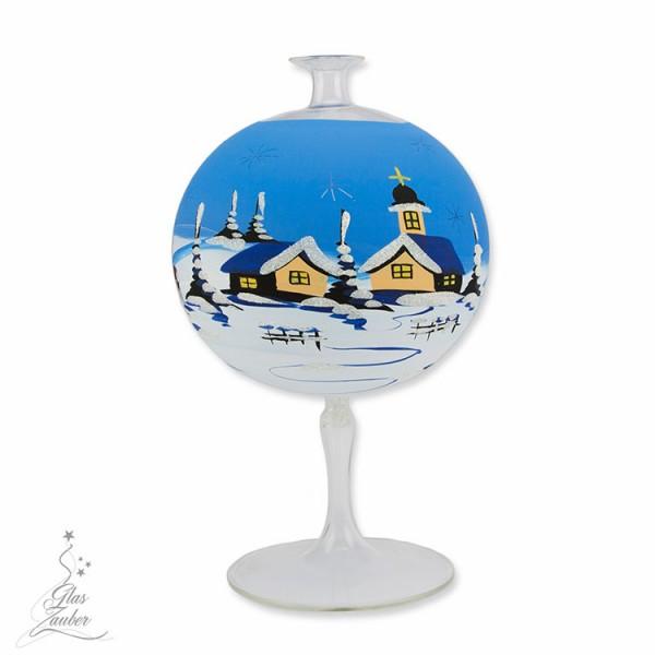 Windlicht aus Glas mit Glasfuß - ø 12 cm - Winterblau