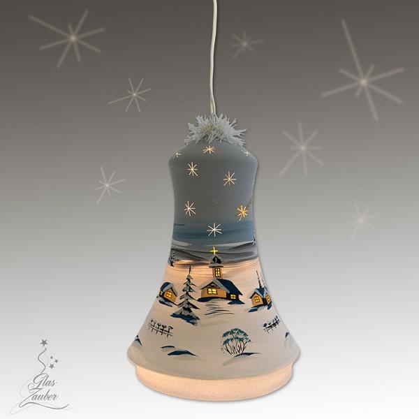 XXL Beleuchtete Glocke aus Glas - Höhe 24 cm - Frostgrau