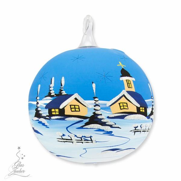 Windlicht aus Glas mit Ständer - ø 12 cm - Winterblau