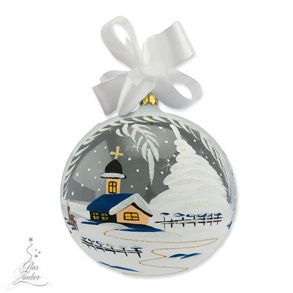 Weihnachtskugel aus Glas - ø 14 cm - Frostgrau