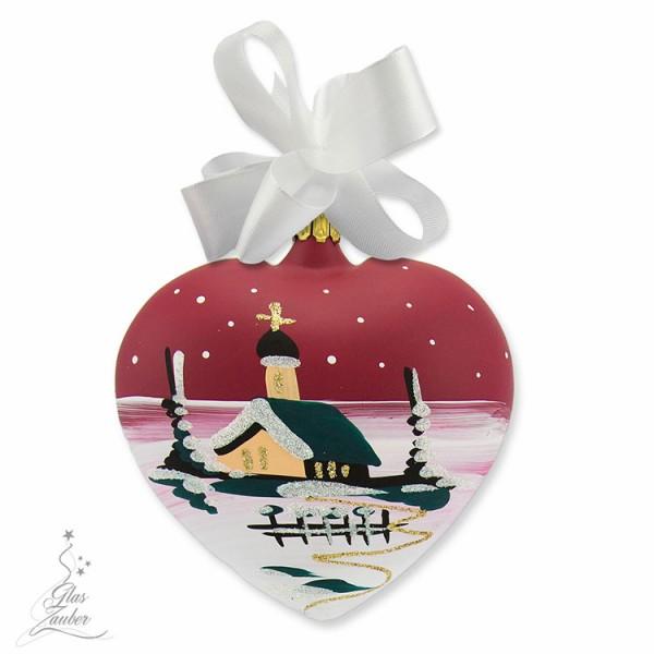 Herz aus Glas - 10 cm - Weihnachtsrot