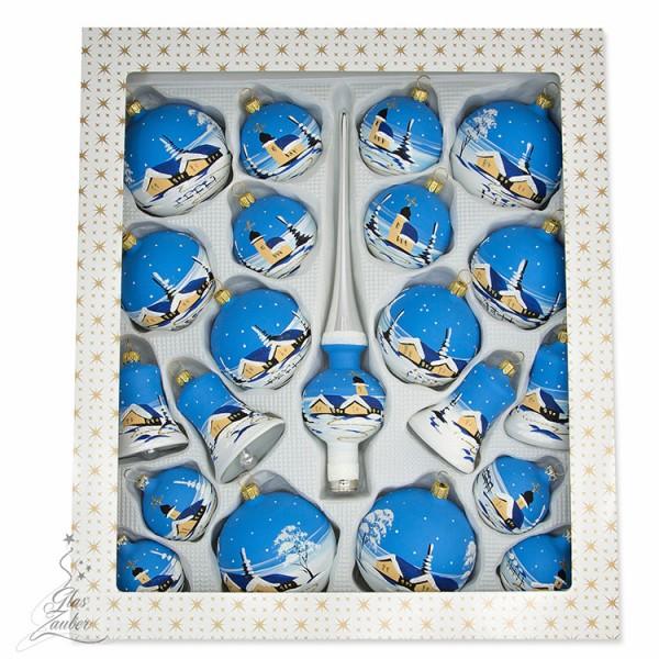 """Christbaumschmuck Set """"Weihnachtsbaum"""" - 21 Teile - Winterblau"""