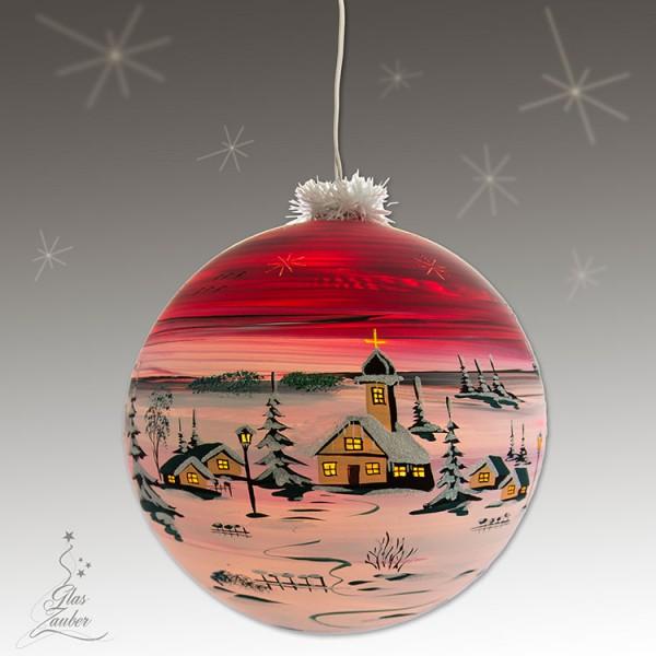 XXL Beleuchtete Glaskugel aus Glas - ø 25 cm - Weihnachtsrot